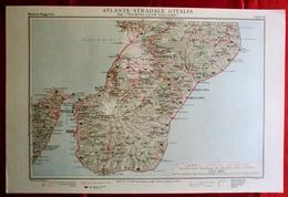 Foglio 45, Messina - Reggio Calabria, ATLANTE STRADALE D'ITALIA Touring Club Italiano 1923-26 (Dir. L. V. Bertarelli) - Carte Stradali