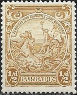 BARBADOS 1938 Badge Of The Colony - 1/2d. - Bistre MH - Barbados (...-1966)
