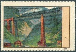 Switzerland Schweiz Poster Vignette Reklamemarke Railway Bridge Train Steam Locomotive Zug Gotthardbahn Brücke Amsteg - Eisenbahnen