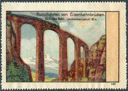 Switzerland Schweiz Suisse Poster Vignette Reklamemarke Railway Bridge Train Steam Locomotive Zug Räthische Bahn Brücke - Eisenbahnen