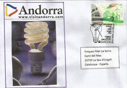 ANDORRA.THINK GREEN / PENSAR EN VERD ! Electricité.   Lettre FDC Adressée En Espagne, Année 2016 - Elektrizität