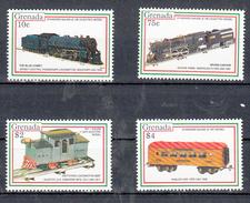 Trein, Train, Locomotive, Eisenbahn: Grenada 1992 Mi Nr  2452 + 2455 + 2457 + 2458 - Trains
