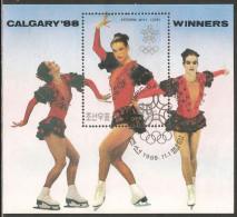 1988 Mi# Block 239 Used - Calgary '88 Winter Olympic Games Winners / Katarina Witt - Korea, North