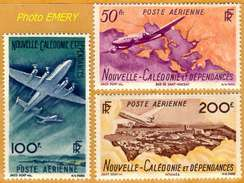 Nouvelle-Calédonie **LUXE 1946 Pa 61 à 63 Série 3v - Poste Aérienne