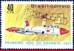 Ref. BR-1195 BRAZIL 1971 PLANES & AVIATION, XAVANTE,1ST FLIGHT, 14, BIS,SANTOS DUMONT'S PLANE, MI# 1289,MNH 1V Sc# 1
