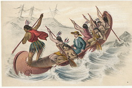 Ein Indianer Missionar Fahrt In Einem Kahn Eine Stromschnelle Hinauf Indiens Peaux Rouge En Canoé Avec Missionnaire - Indiens De L'Amerique Du Nord