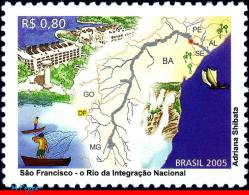 Ref. BR-2969 BRAZIL 2005 MAPS, SAN FRANCISCO RIVER,, SHIPS, NATURE, MNH 1V Sc# 2969