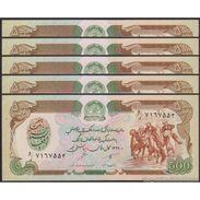 TWN - AFGHANISTAN 60b - 500 Afghanis 1990 UNC DEALERS LOT X 5 - Afghanistan
