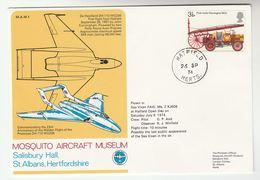 1974 GB  FLIGHT COVER Flown SEA VIXON FAW MK2  Hatfield ANNIV PROTOTYPE DH110 WG236,  Stamps Aviation