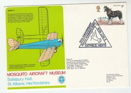 1978 DH HUMMING BIRD FLIGHT COVER Old Warden AERODROMM, Hatfield, Gb Aviation Stamps Birds
