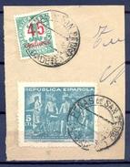 1938 , ALBACETE , FRAGMENTO CON MATASELLOS DE PEÑAS DE SAN PEDRO - 1931-Aujourd'hui: II. République - ....Juan Carlos I