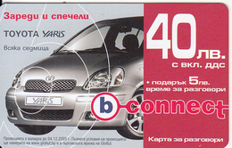 BULGARIA - Toyota Yaris, B Connect Prepaid Card 40 Leva, Exp.date 24/03/08, Mint