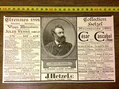 PUBLICITE 1891 COLLECTION HETZEL JULES VERNE - Vieux Papiers