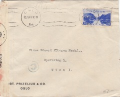 Zensurbrief NORWEGEN 1941 - 30 Öre Auf Zensurierten Brief Gel.v.Oslo > Wien - Norwegen