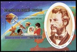 Guinea Bissau, 1976, Centenary Of The Telephone, Bell, Satellite, MNH, Michel Block 29A - Guinea-Bissau