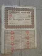 """""""établissements Jacques Haïk"""" Part Bénéficiaire Au Porteur 1929 - Cinéma & Théatre"""