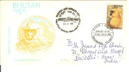 WWF  Cover  BHUTAN Golden Langur   / Enveloppe  BHOUTAN Singe   1988
