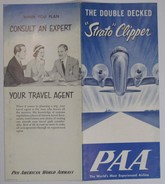 PAA PAN AMERICAN WORLD AIRWAYS Flyer Dépliant The Double Decked Strato Clipper 3x2 Faces English Anglais No Date - World
