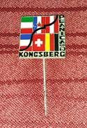 PLANICA- KONGSBERG 1975. SLOVENIA, NORWAY- SKI JUMPING, ORIGINAL VINTAGE PIN BADGE- BERTONI MILANO - Winter Sports