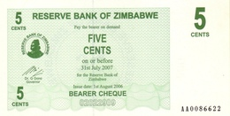 ZIMBABWE 5 CENTS 2006 P-34 UNC  [ZW125a] - Zimbabwe
