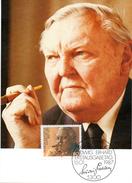"""BRD Maximumkarte Freimarken """"90.Geburtstag Von Ludwig Erhard"""" Mi 1308 ESSt 15.1.1987 BONN 1"""