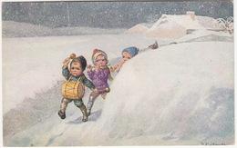 Musicerende Kinderen, Winter, Sneeuw - Reclame: 'J. Bijloos - Eau De Cologne - Fabriek Te Den Haag'  (Holland/Nederland) - Reclame