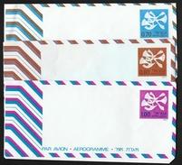 ISRAEL 1974 3 AEROGRAMMES - Poste Aérienne