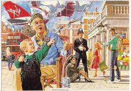 London - Bobby, Double Decker Bus - VIRGIN ATLANTIC Postcard - Virgin's London - Politie-Rijkswacht