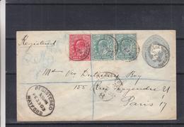 Grande Bretagne - Lettre Recom De 1903 - Entier Postal - Oblit Bushey Newtown - Exp Vers Paris -cahet Paris Distribution - 1902-1951 (Rois)
