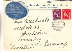 Finlande - Lettre De 1938 - Oblit Helsinki - Exp Vers Wiesbaden En Allemagne - Hôtelleriekuopio