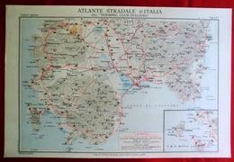 Foglio 53, Cagliari - Iglesias, ATLANTE STRADALE D'ITALIA Touring Club Italiano 1923-26 (Dir. L. V. Bertarelli) - Carte Stradali