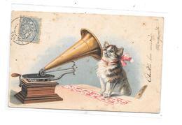 CPA Chat Et Phonographe, Thème Musique, - Musique Et Musiciens