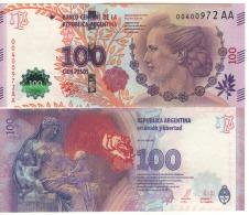 """ARGENTINA    New 100 Pesos   """"P358c""""  Eva Peron  Amended Design 2016 - Argentine"""