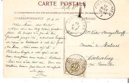 T.Tx. N° 6 CORTENBERG Du 18/8/1907 S/CP. Non Affranchie Cad COQ-SUR-MER. TB - Postage Due