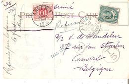 T.Tx. N° 5 ANVERS 5/7/1906 S/CP. Du CANADA Affr. 1c. OTTAWA - GRIFFE Bl. TAXE ANNULEE En Bleu. TB - Postage Due