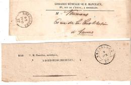 1875 - 2 Manchons Obl. Différentes BRUXELLES/P.P. - Postmark Collection