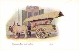 Indonesia, JAVA, Native Bullock Cart (1910s) Javanese Types - Indonesia