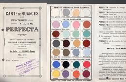 (valence Drôme) Carte De Nuances Des Peinture à L'eau PERFECTA (1er Type) (PPP4396A) - Publicités