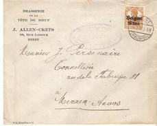 """TP.Occ. 15 Cap. DIEST 1917 S/Lettre """"BRASSERIE TÊTE DE BOEUF J.ALLEN-CRETS-DIEST"""" V.MERXEM. TB - WW I"""