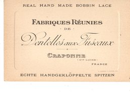 43----CRAPONNE--fabriques Réunies De Dentelles Aux Fuseaux--carte Commerciale-voir 2 Scans - Craponne Sur Arzon