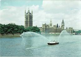Shipping Postcard London Fire Brigade Fireboat Fire Hawk Ship Thames Parliament - Ships