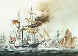 Shipping Postcard Radkorvette Hamburg Harbour German Navy Paddle Steamer Ship - Warships