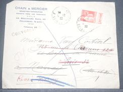 FRANCE - Type Paix Avec Bande Pub Sur Enveloppe En 1932 De Palaiseau Pour Paris Et Redirigé Vers Nancy - A Voir - L 6226 - Advertising