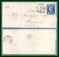 LAC Bernay De L'Eure (26) PC 373 /N° 14 T15C + OR 1861 > Drucourt (T15 Thiberville ) TB - 1849-1876: Klassik