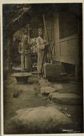 Indonesia, JAVA, Native Javanese Women Cleaning Rice (1920s) RPPC - Indonesia