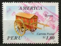 PERÚ 1995 América UAPAEP. Transportes Postales. (1994). LIGERA ARRUGUITA. USADO - USED. - Peru