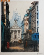 Ancienne Et Tres Belle Eau Forte  Signée Au Crayon :  BARON En Bas à Droite  Le  SACRE COEUR  De Paris - Prints