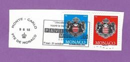 MONACO TIMBRE OBLITERE SUR FRAGMENT FLAMME EXPOSITION UNIVERSELLE MILANO 2015 PAVILLON MONEGASQUE - Marcophilie - EMA (Empreintes Machines)