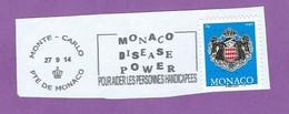 MONACO TIMBRE OBLITERE SUR FRAGMENT FLAMME POUR AIDER LES PERSONNES HANDICAPEES DISEASE POWER - Marcophilie - EMA (Empreintes Machines)