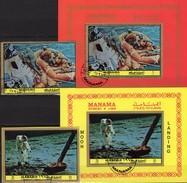 Mondflug 1972 Manama 969,1085,Blocks 191+215 O 41€ Landung Wasserung Apollo 8 Astronauten Blocs Space Sheets Bf VAE - Space